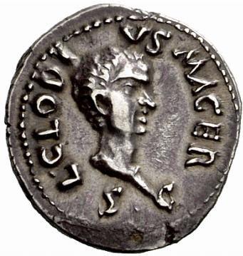 Dritto di una moneta di Clodio Macro.