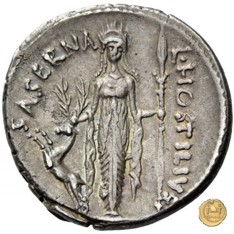 448/3 - denario L. Hostilius Saserna 48BC (Roma)
