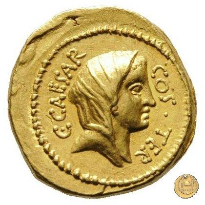 466/1 - aureo C. Iulius Caesar / A. Hirtius A.f. 46a.C. (Roma)