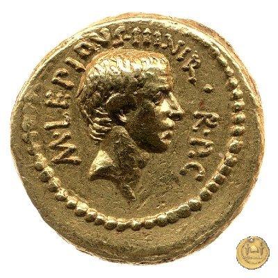 494/1 - aureo M. Aemilius Lepidus / L. Livineius Regulus 42BC (Roma)