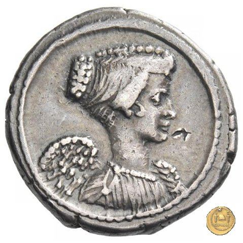 494/40 - denario L. Mussidius T.f. Longus 42BC (Roma)