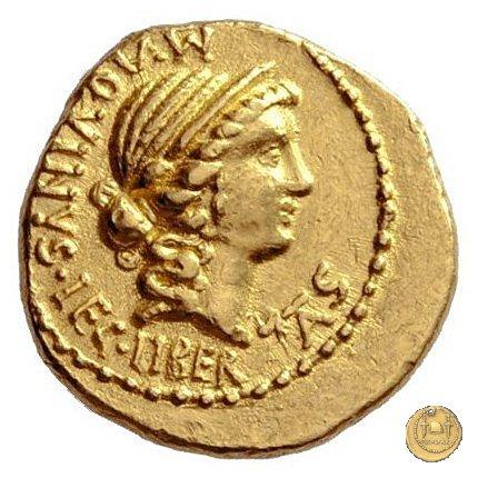 499/1 - aureo C. Cassius Longinus / M. Aquinus 43-42BC (Itinerante con Cassius)