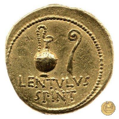 500/4 - aureo C. Cassius Longinus / L. Cornelius Lentulus Spinther 43-42BC (Itinerante con Cassius)