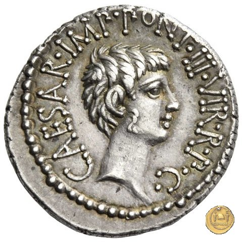 517/2 - denario M.Antonius / C.Iulius Caesar Octavianus / M.Barbatius 41a.C. (Itinerante con M. Antonius)