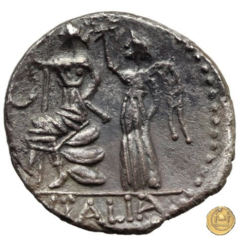 7b - Italia seduta e coronata 89a.C. (Corfinium)
